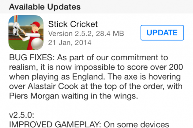 Stick Cricket Game Starts Trolling England Cricket Team with Latest Updates