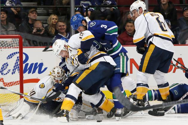 Preds' Hutton Thwarts Canucks, 2-1