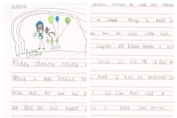 Young Fan Writes Letter to Richard Sherman, Compares Him to 'Wreck-It Ralph'