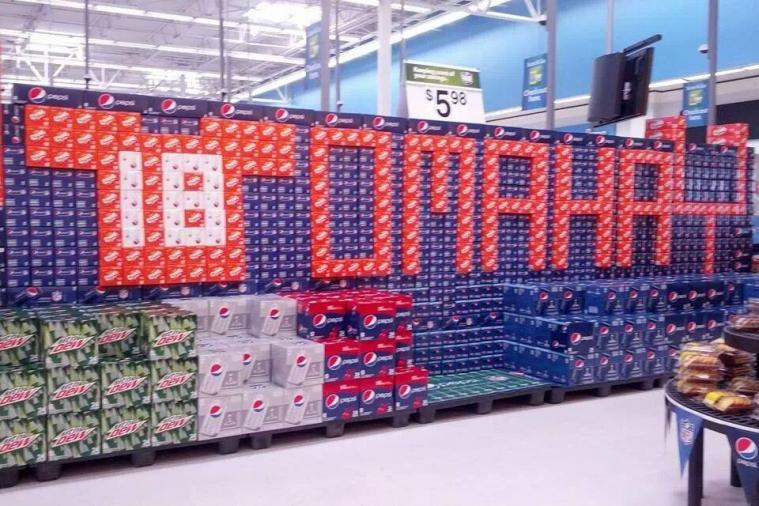 Grocery Store Goes All Out with Denver Broncos Soda Stack Arrangement