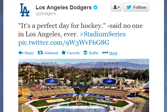 Dodgers Twitter Account Wasn't Very Supportive of NHL's 'Stadium Series'