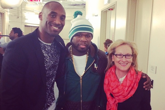 50 Cent Sits by Meryl Streep, Hangs Out with Kobe Bryant at Lakers-Knicks Game