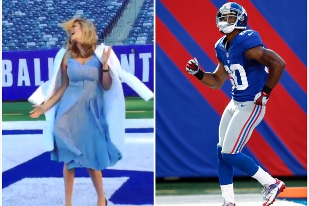 Kate Upton Does the Victor Cruz Salsa Dance in MetLife Stadium's End Zone