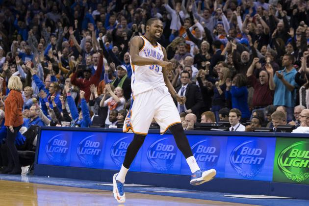 Kevin Durant Becomes First Player Since 2003 with 11 Consecutive 30-Point Games