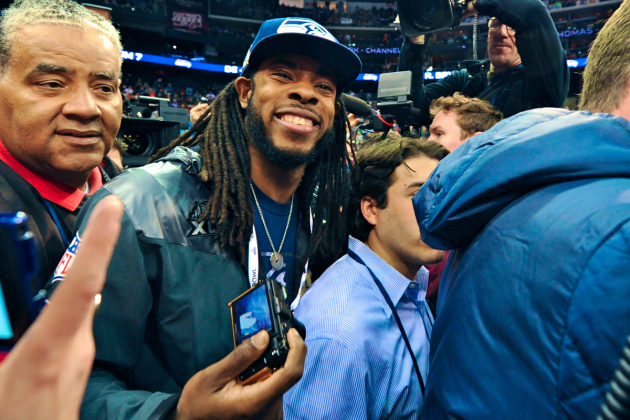 Richard Sherman Making the Most of Super Bowl Spotlight, Media Day Insanity