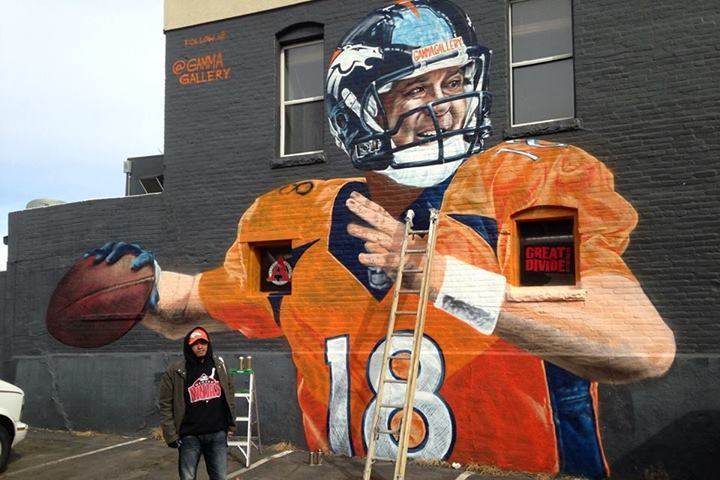Street Artist Paints Awesome Peyton Manning Mural on Denver Building