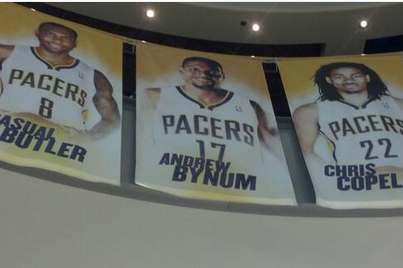 Andrew Bynum Banner Already Up in Bankers Life Fieldhouse