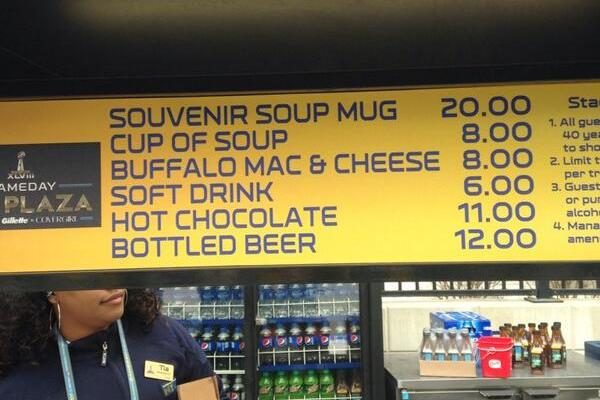 Food and Drinks at the Super Bowl Are Pretty Expensive