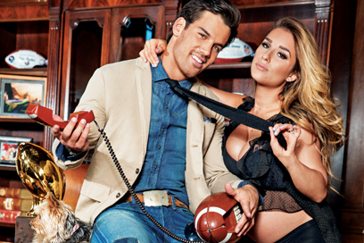Eric Decker in Distressed Blue Jeans with Jessie James - February 2014