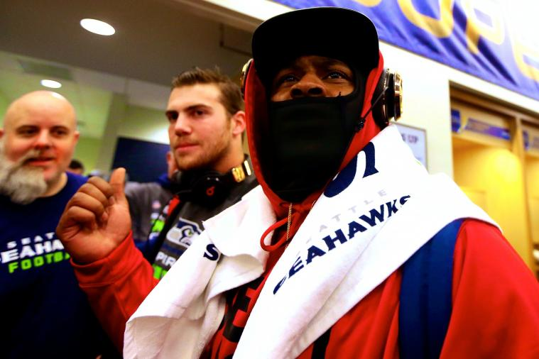 Marshawn Lynch Stays Quiet with Media in Super Bowl Postgame Interview