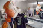 Broncos' Mascot Makes Good on Bet