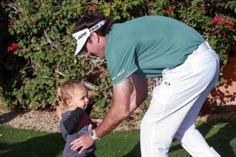 Bubba Watson's 1-Year-Old Son Gives Golf a Shot for First Time