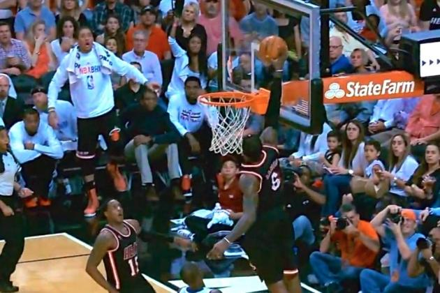Mario Chalmers Throws Alley-Oop Way Up for LeBron James, Who Slams It Down
