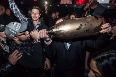 Golden Tate Had a Giant Bottle of Champagne Goodness After Super Bowl XLVIII