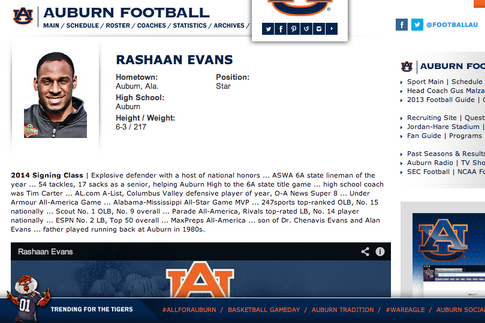 Auburn Puts LB Rashaan Evans on School's Website, 5-Star Recruit Picks Alabama