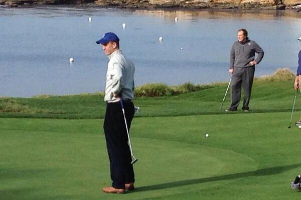 Peyton Manning, Tom Brady and Bill Belichick Show Off Swings at Pro-Am