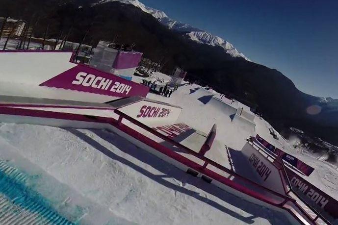 Russian Snowboarder Alexey Sobolev Films Ride Down Slopestyle Course