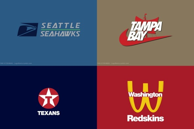 NFL Logos Remade as If Designed by Famous Corporations