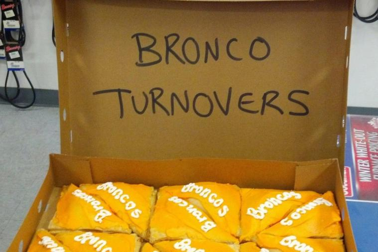 Seahawks Fans Prank Their Broncos Fan Office Mate with Box of Turnover Pastries