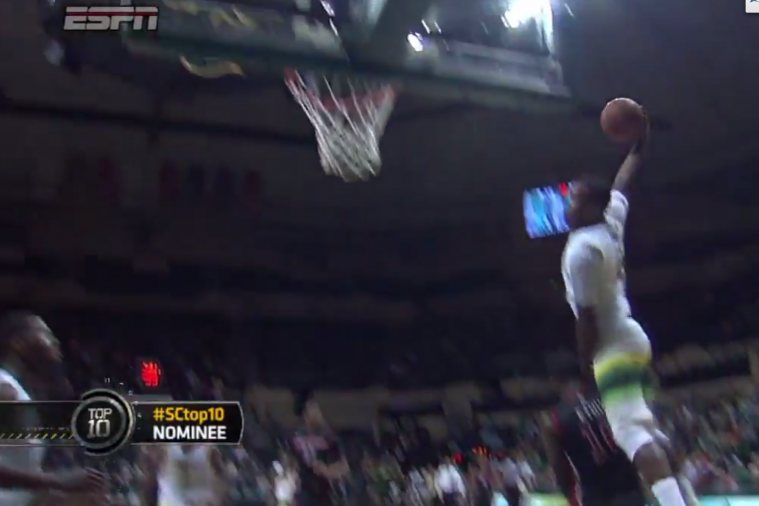 USF's Victor Rudd Vaults over His Defender for a Huge Slam