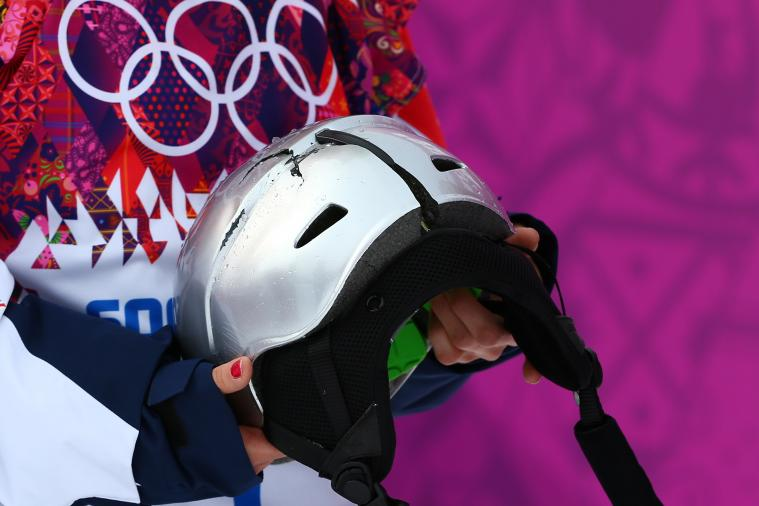 Czech Snowboarder Sarka Pancochova Breaks Helmet on Nasty Spill
