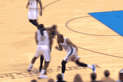 Carmelo Anthony Gets Drilled on Screen from Kendrick Perkins