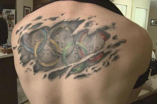 Canadian Speed Skater Charles Hamelin Has Awesome Back Tattoo of Olympic Rings