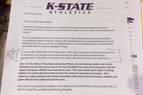 K-State Issues Behavior Expectations for Courtside Fans