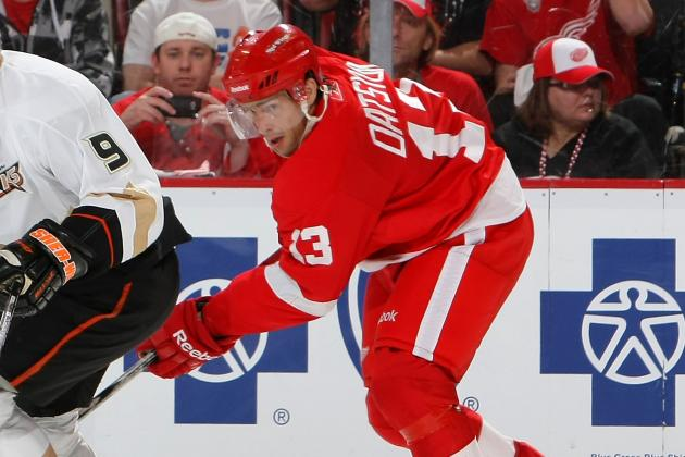 Injured Wings Star Datsyuk Takes Part in Practice with Russia