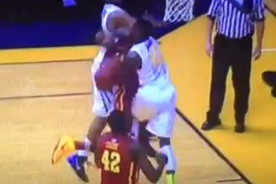 Video: WVU's Eron Harris Punches Iowa State Guard