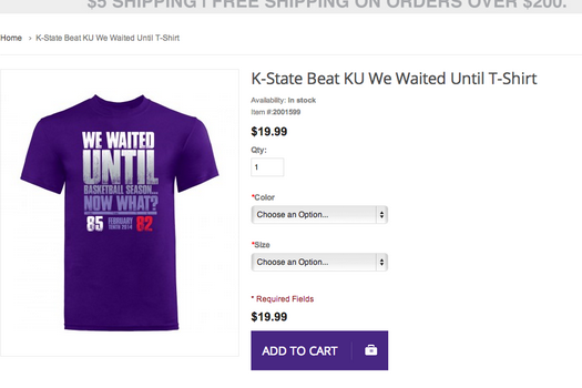 Photo: K-State Shirt Trolls Kansas Basketball