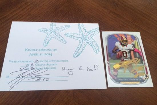 Robert Griffin III Responds to Wedding Invitation with Autographs