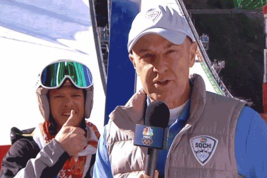 Todd Lodwick Pulls off Epic Videobomb on Reporter Giving Skier's Injury Report