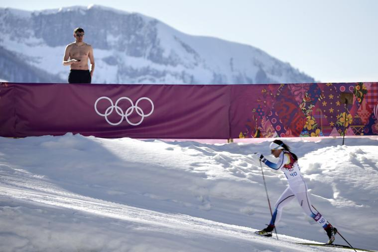 Unusually Warm Temperatures Lead to Shirtless Fans at 2014 Sochi Winter Olympics