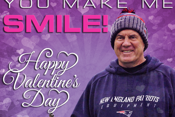 Patriots Release Valentine's Day Cards Poking Fun at Bill Belichick, Tom Brady