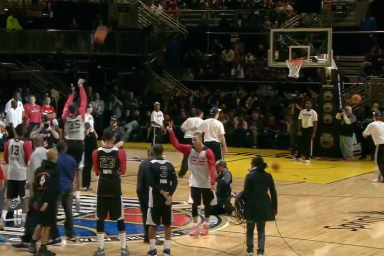 Stephen Curry Makes 3 Half-Court Shots at All-Star Game Practice