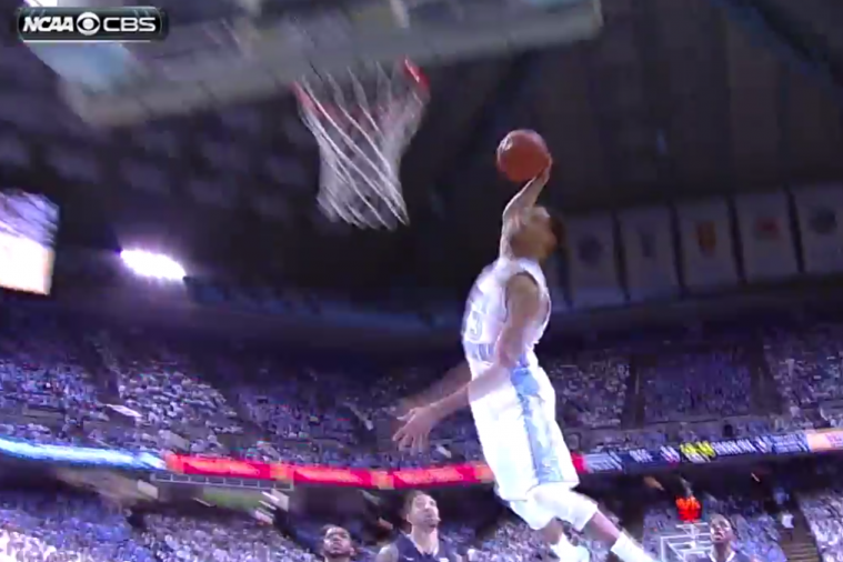 North Carolina's J.P. Tokoto Throws Down Tomahawk Dunk vs. Pitt