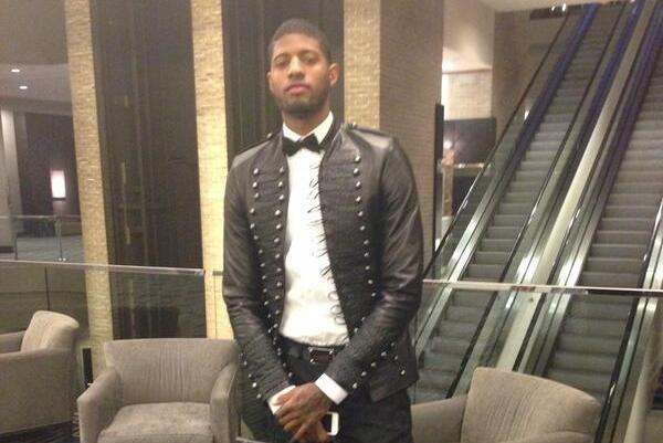 Paul George Wears Ridiculous Suit on 2014 NBA All-Star Saturday