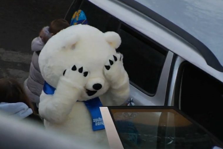 Sochi Olympic Mascot Can't Fit His Big Bear Head into Van