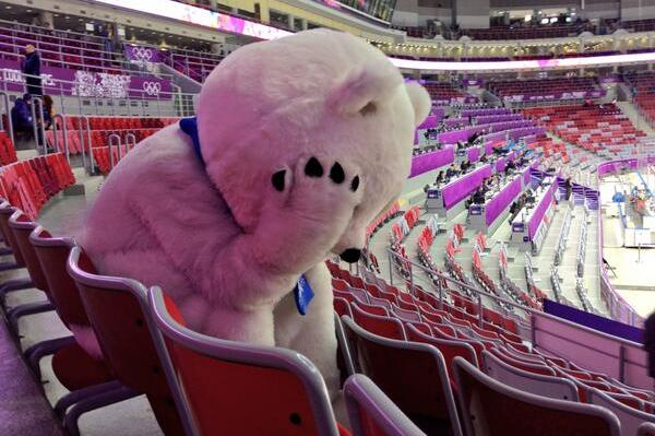 Sochi Bear Has Trouble Handling Russian Men's Hockey Team Elimination