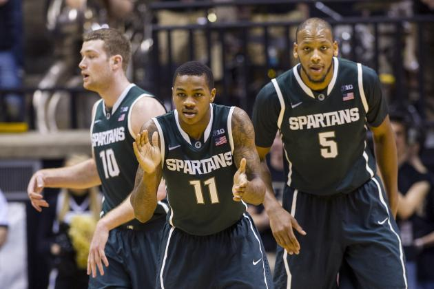 Sparty Rains 13 Treys for 49-38 Halftime Lead vs. Purdue