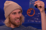 US Snowboarder Receives a Medal Made of Bacon on 'Conan'