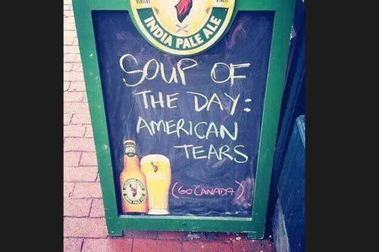 Canadian Restaurant Offers Special of 'American Tears' in Wake of Hockey Game