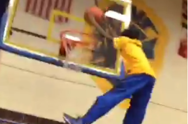 High School Kid Dunks at Pep Rally Thanks to Boost from Classmates