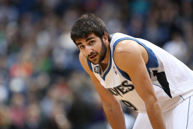 Ricky Rubio Makes Backward One-Handed Fling While Being Fouled