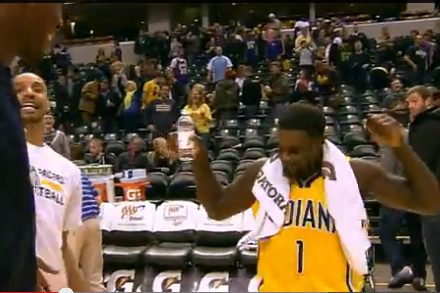 Lance Stephenson Videobombs Ian Mahinmi with Water, Does a Little Dance