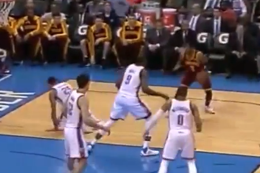 Kyrie Irving Crosses Thabo Sefolosha off His Feet