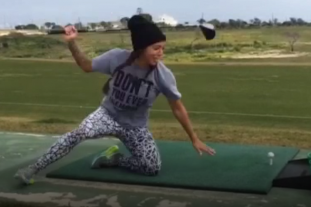 Sydney Leroux Whiffs 'Happy Gilmore' Shot, Completely Eats It
