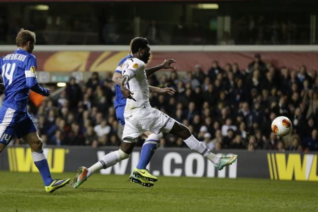 GIFs: Adebayor's Brace Fires Tottenham Back into Europa League Tie with Dnipro