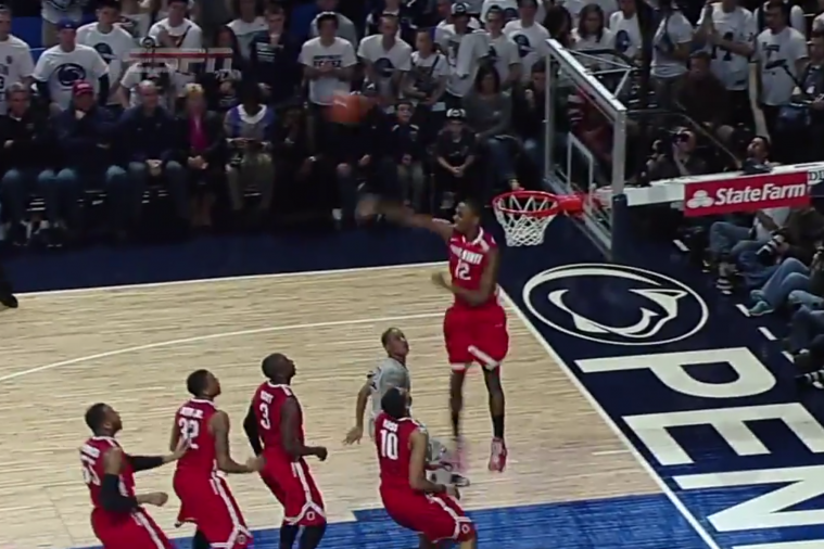 Ohio State's Sam Thompson Swats a Shot Almost to Half Court